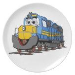 Dibujo animado azul del motor del tren platos de comidas
