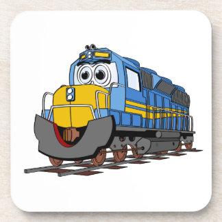 Dibujo animado azul del motor del tren posavasos