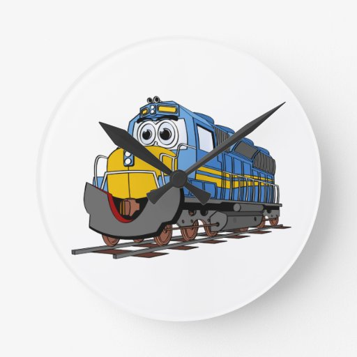 Dibujo animado azul del motor del tren reloj redondo mediano