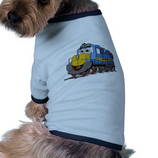 Dibujo animado azul del motor del tren camiseta con mangas para perro