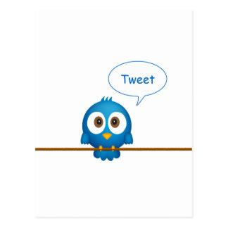 Dibujo animado azul del pájaro del gorjeo tarjetas postales
