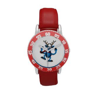 Dibujo animado azul del reno del baile reloj