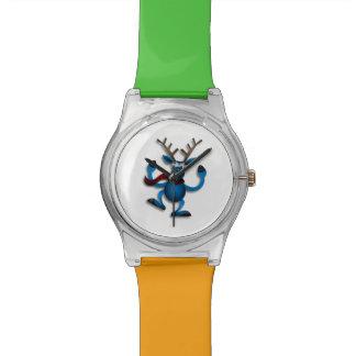 Dibujo animado azul del reno del baile relojes