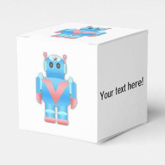 Dibujo animado azul del robot caja para regalos de fiestas
