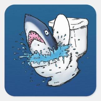 Dibujo animado azul divertido del tiburón del pegatina cuadrada