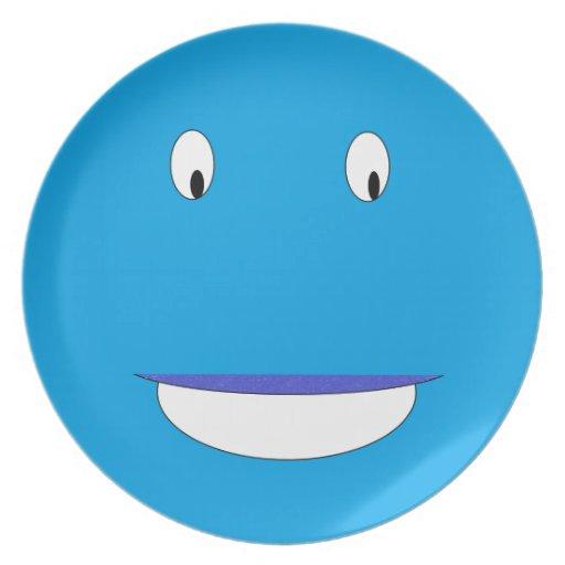 dibujo animado azul feliz de la cara - imagen cuad plato