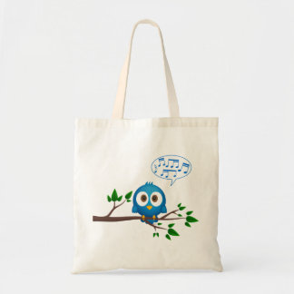 Dibujo animado azul lindo del pájaro del gorjeo bolsa tela barata