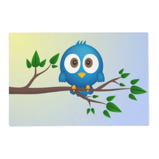 Dibujo animado azul lindo del pájaro del gorjeo salvamanteles