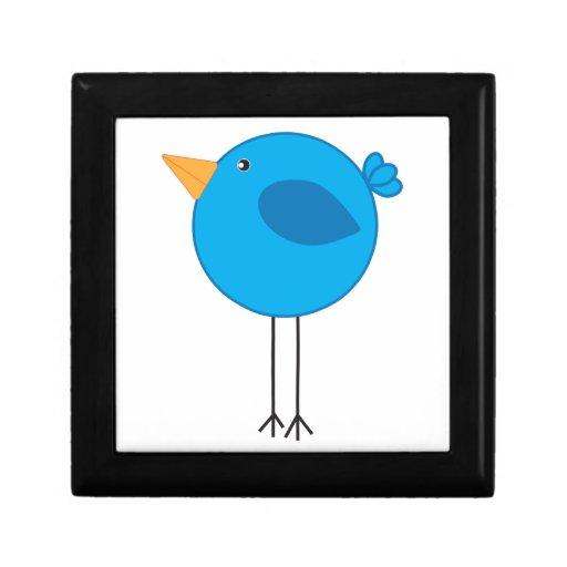 Dibujo animado azul zanquilargo del pájaro caja de recuerdo