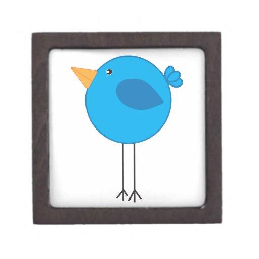 Dibujo animado azul zanquilargo del pájaro caja de joyas de calidad