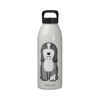 Dibujo animado barbudo del perro del collie botellas de agua reutilizables