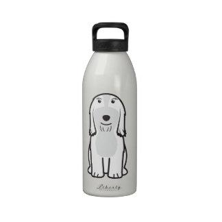 Dibujo animado barbudo del perro del collie botallas de agua