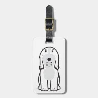 Dibujo animado barbudo del perro del collie etiquetas de maletas