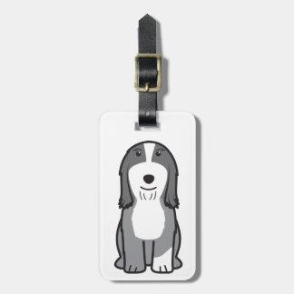 Dibujo animado barbudo del perro del collie etiquetas bolsas