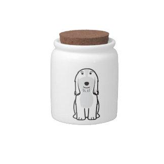 Dibujo animado barbudo del perro del collie jarras para caramelos