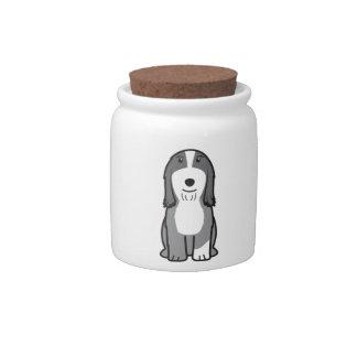 Dibujo animado barbudo del perro del collie platos para caramelos