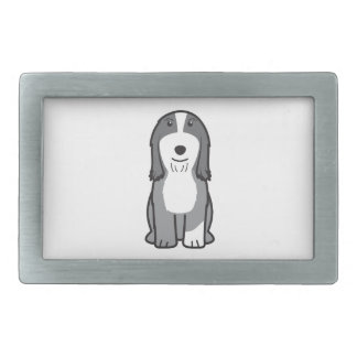 Dibujo animado barbudo del perro del collie hebilla de cinturon rectangular