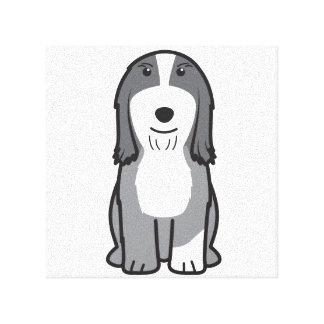 Dibujo animado barbudo del perro del collie impresión en lona