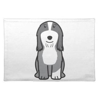 Dibujo animado barbudo del perro del collie manteles
