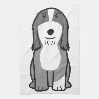 Dibujo animado barbudo del perro del collie toalla de cocina
