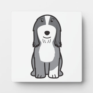 Dibujo animado barbudo del perro del collie placa