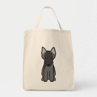 Dibujo animado belga del perro del perro pastor bolsa tela para la compra