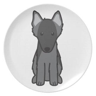 Dibujo animado belga del perro del perro pastor platos para fiestas