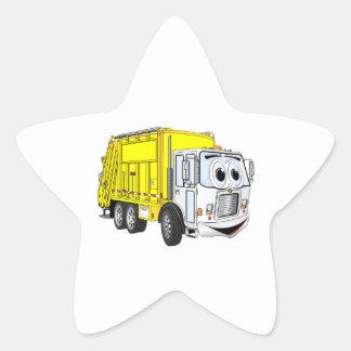 Dibujo animado blanco amarillo del camión de pegatina forma de estrella