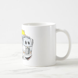 Dibujo animado blanco amarillo del camión de tazas de café