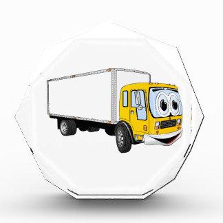 Dibujo animado blanco amarillo grande del camión