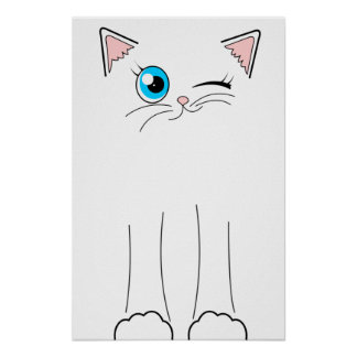 Dibujo animado blanco de guiño lindo del gato póster