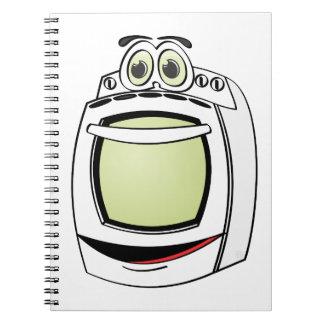 Dibujo animado blanco de la estufa cuaderno