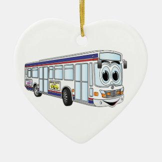 Dibujo animado blanco del autobús de la ciudad adorno navideño de cerámica en forma de corazón