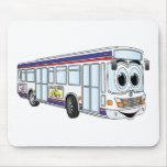 Dibujo animado blanco del autobús de la ciudad tapete de ratón