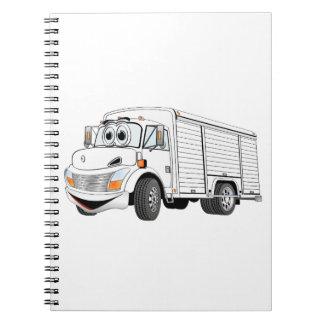Dibujo animado blanco del camión de la bebida spiral notebook
