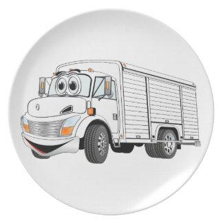 Dibujo animado blanco del camión de la bebida platos