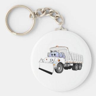 Dibujo animado blanco del camión volquete llavero personalizado