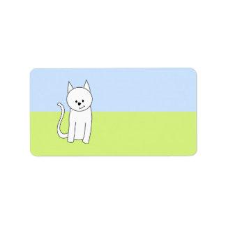 Dibujo animado blanco del gato etiqueta de dirección