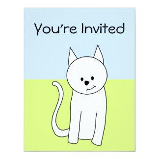 """Dibujo animado blanco del gato invitación 4.25"""" x 5.5"""""""
