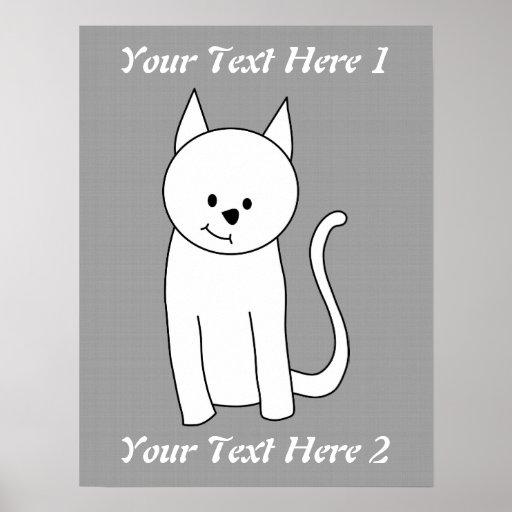 Dibujo animado blanco del gato póster