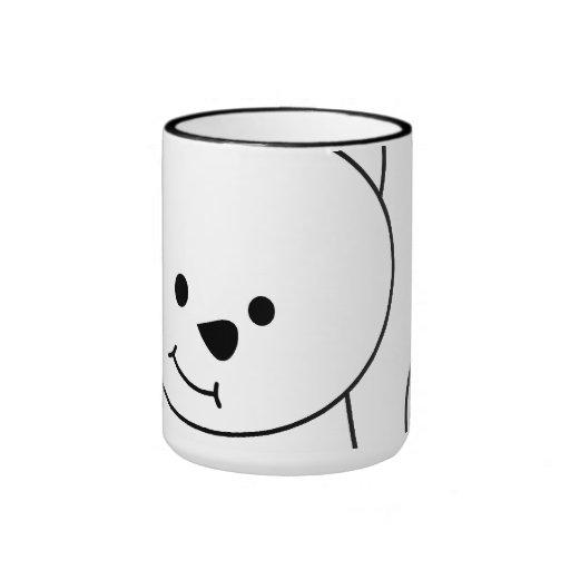 Dibujo animado blanco del gato taza de dos colores