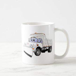 Dibujo animado blanco del quitanieves taza de café