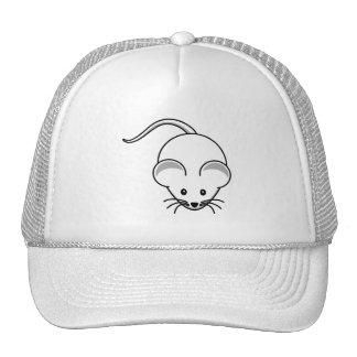 Dibujo animado (blanco) del ratón gorros bordados