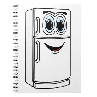 Dibujo animado blanco del refrigerador spiral notebooks