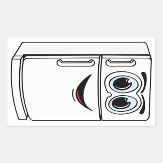 Dibujo animado blanco del refrigerador pegatina rectangular
