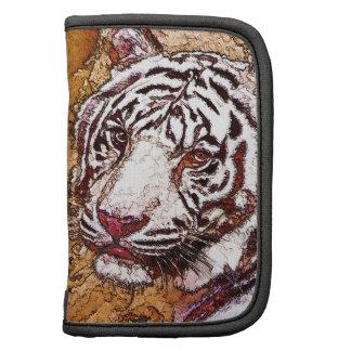 Dibujo animado blanco del tigre planificador