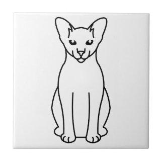 Dibujo animado blanco extranjero del gato de azulejo cuadrado pequeño