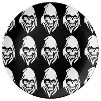 Dibujo animado blanco gótico del segador (fondo ne platos de cerámica