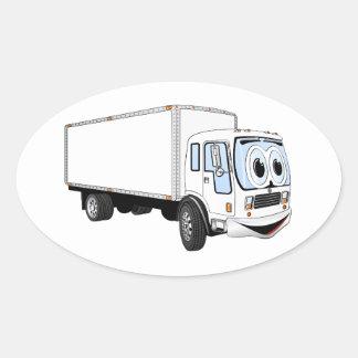 Dibujo animado blanco grande del camión de reparto pegatina ovalada