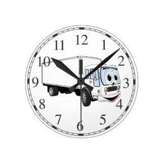 Dibujo animado blanco grande del camión de reparto reloj redondo mediano